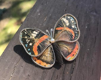 Vintage Butterfly Brooch, Monarch Butterfly Pin, Wire wrapped Butterfly