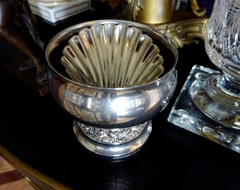 A silver plated small urn bowl vase