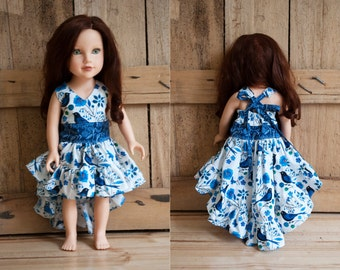 18 inch doll dress, white and blue hi-low adjustable halter dress for various 18 inch dolls