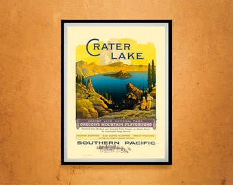Reprint of a Vintage Travel Poster - Crater Lake CA