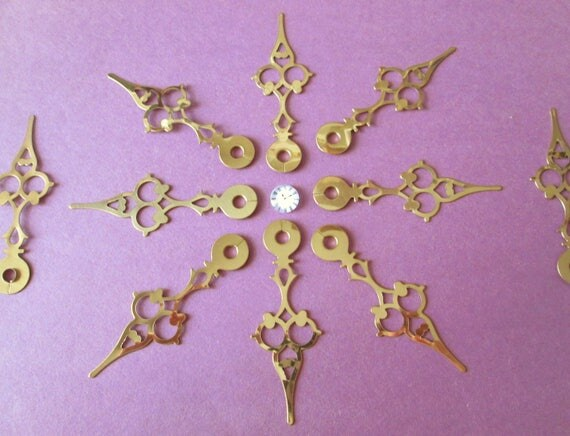 10 New Shiny Serpentine Style Brass Plated Steel Clock Hands for your Clock Projects, Jewelry Making, Steampunk Art, Crafts 3 1/8""
