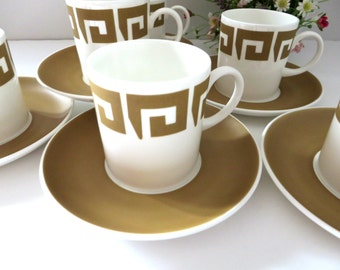 Susie Cooper 1960's  vintage  coffee cup and saucer, Keystone Old Gold, Wedgwood coffee cup