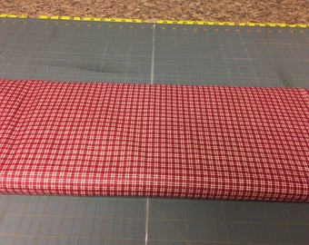 Dark red mini plaids Fabric by the yard