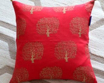 Red Tree Print Decorative Pillow