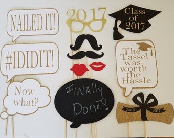 Graduation Photo Booth Prop -Black & Gold.  Great gift idea!