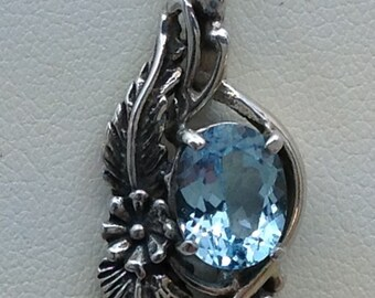 sterling silver blue topaz DTR pendant