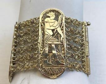 Vintage Sterling silver Egyptian bracelet.