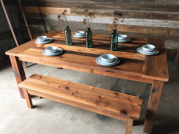 Reclaimed Wood Farmhouse Dining Table Polished Finish