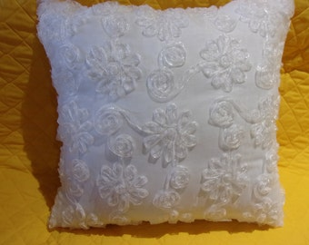 Decorator Pillow in Snow White with Floral and Ribbon Embellishments Great Gift Bridal Wedding Gift