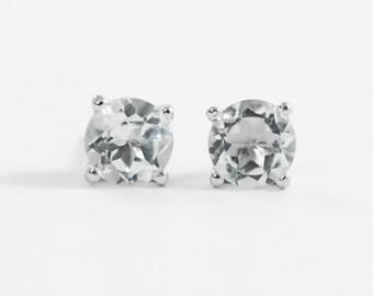 White topaz earrings Sterling silver stud earrings 6 mm White topaz studs Natural gemstone jewelry Gift for her April birthstone