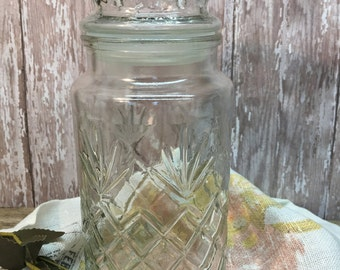 Vintage Planters Peanuts Jar/Lidded/Diamond Shape Cut Glass/1983