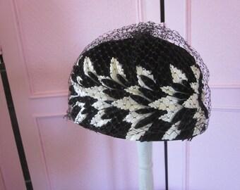 1960s Black and White Velvet High-Crown Hat