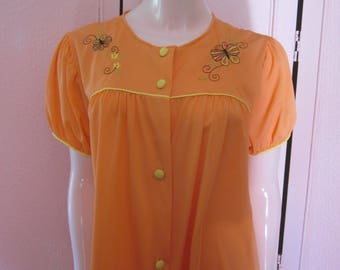 "1960s Tangerine-Colored Nylon Robe by ""Gilead,"" Size Large"