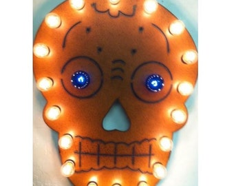 Sugar Skull marquee lighted sign made out of rusted metal day of the dead