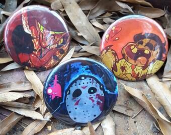 PINS: Freddy Krueger || Jason Voorhees || Leatherface || horror pins || creepy cute || pinback buttons