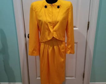 Vintage Christian Dior Vibrant Yellow Suit