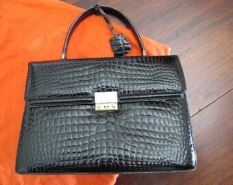 French vintage leather handbag, black patent croco style, kelly style handbag