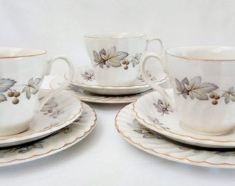 Vintage 3 Piece Tea Set. Staffordshire Tea Set. H.Aynsley Floral Tea Set. Vintage Cups and Saucers. 1960 Tea Set. Retro Tea Set. Tea Set.