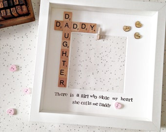 Daddy Daughter Personalised Photo Frame Scrabble Gift- There is a Girl Who Stole My Heart She Calls Me Daddy- Photo Printing- Father's Day