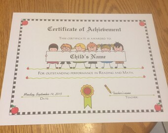 Personalized Student Certificate of Achievement