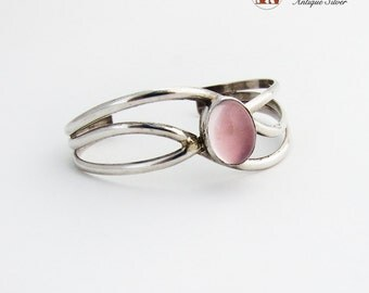 Rose Quartz Inset Wavy Cuff Bracelet Sterling Silver Copyrighted