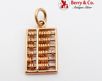 Abacus Counting Frame Charm Pendant Yellow Gold