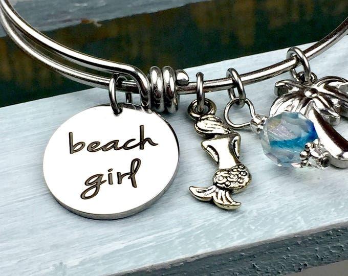 Beach Girl Expandable Bangle Bracelet, Charm bracelet, beach, shore, summertime, beach jewelry