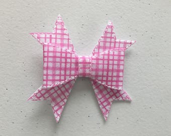 """Pink and White Checkered Hair Bow on Ribbon Covered Hair Clip 3""""  Embroidered on Felt"""