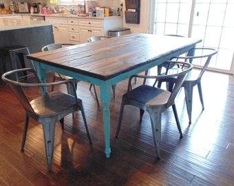 Dining Table, Ready in 2 Weeks, Farmhouse Table, French Country Table, Reclaimed Wood Table, Custom Paint, Kitchen Table, Distressed Paint
