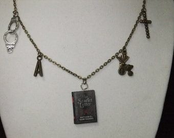 Scarlet Letter Book Necklace - Great Gift for Book Lovers!