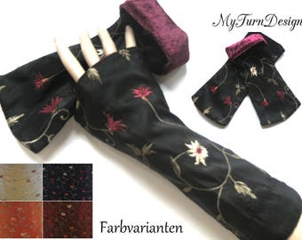 Leg warmers, arm warmers, gloves, taffeta cuffs, Velvet leg warmers, gloves, wrist warmers, flowers, stretchy, velvet, taffeta, black, red, orange, beige