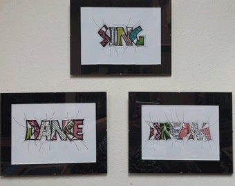 Sing Dance Dream, Home Decor, Wall Art, Tangle Letters