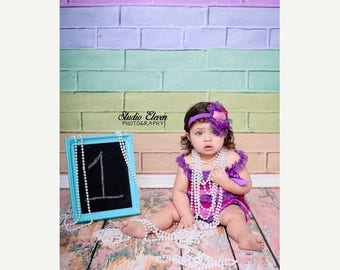 4ft x 4ft Pastel Painted Brick Backdrop for Kids Photography Photos - Vinyl or Poly Photo Background - Item 1473