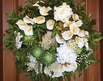 Wreaths for Front Door, Summer Front Door Wreath, Calla Lily Wreath, XL Summer Wreath, Bridal Wreath, Wedding Floral Wreaths, Door Wreath