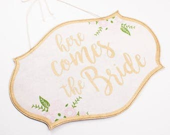 Here Comes the Bride | Just Married | Reversible Wedding Sign | Gold and Floral Wedding Decor Sign | Wedding Signage