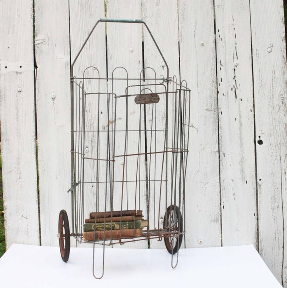 Vintage folding wire grocery cart with wheels flea market for Decor market reviews