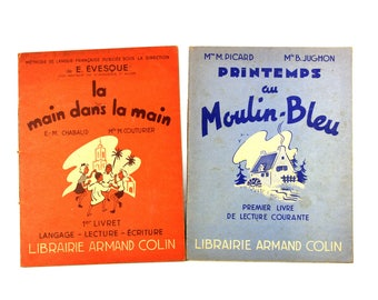 Vintage French reader, set of 2 primary school first reader with images along the text