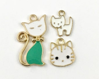 3 cat charms gold and enamel , 15mm to 28mm #ch 327