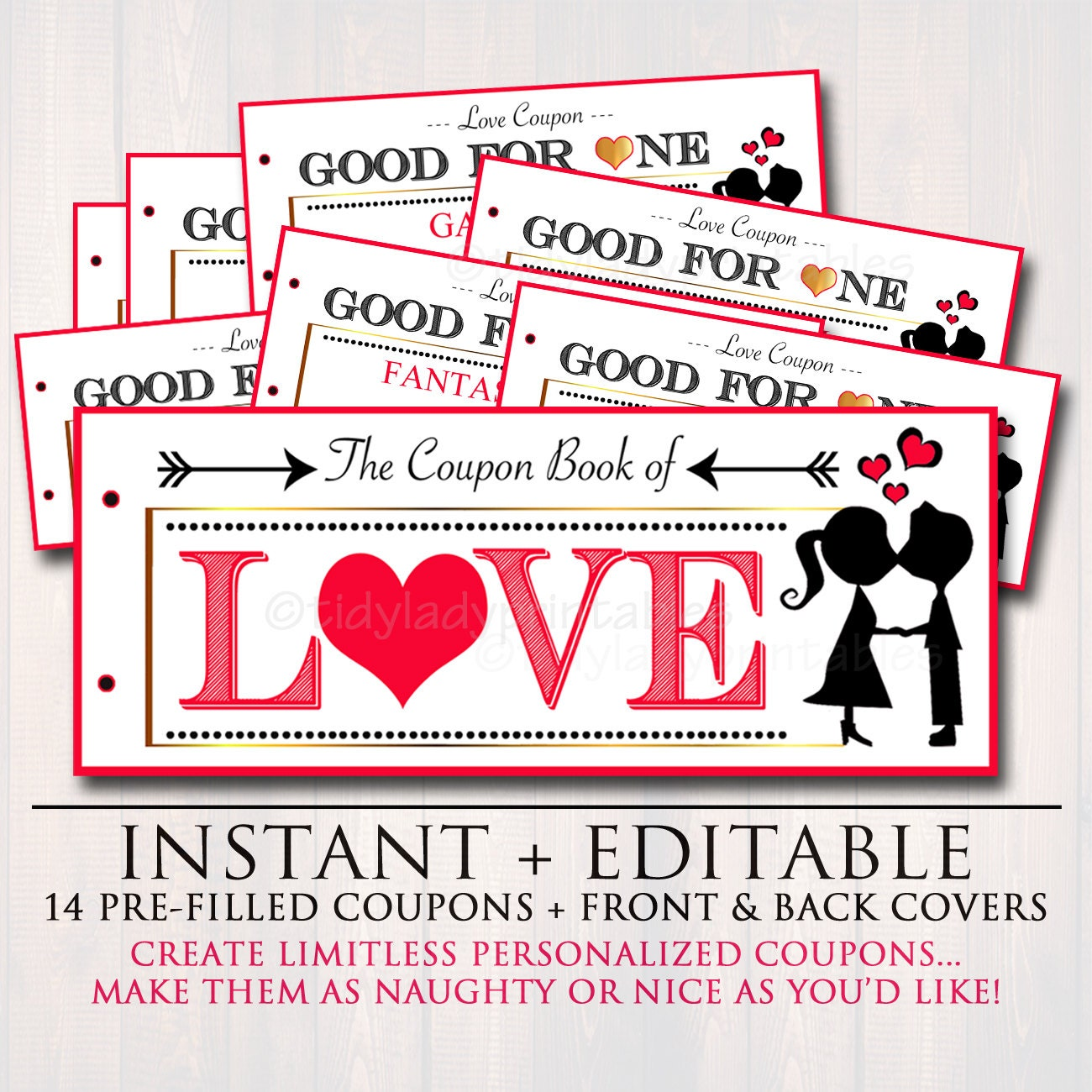 Editable love coupon book instant download printable love for Romantic coupon book template