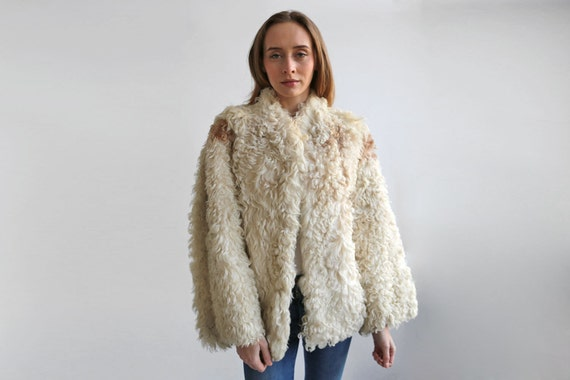 Cream shearling fur coat Curly Sheepskin Coat White Lambskin