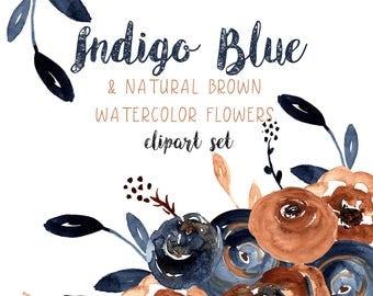 Flower Clipart, Indigo, Navy, Brown, Watercolor Flower Clipart, Floral Clipart, Watercolor Floral Clipart