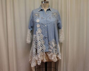 Bohemian Denim shirt Upcycled Romantic Hippie Shabby chick top Embellished  top Sweetshirt Vintage crochet Women summer shirt Cotton lace XL