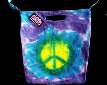 World Peace Tie Dye American Apparel Bull denim Tote Bag