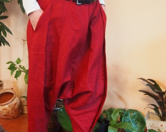 Loose Linen Pants,  Low Bottom Pants, Drop Crotch Harem Pants, Extravagant Pants, Oversize Trousers & Nara P004