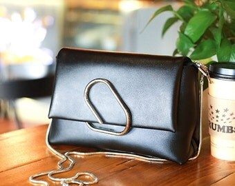 BLACK COLLECTION--Small Faux leather messenger/cross-body/shoulder bag/ clutch with decorative metal closure
