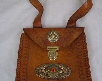 Steampunk bag, eye bag, hand bag, Boho bag, shoulder bag, leather bag, tooled leather bag