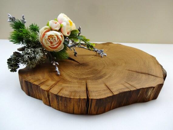 Oak wood slab slice cake stand by