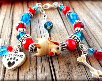 Girls Dog Best Friend Charm Bracelet; Dog Charm Bracelet; Girls Charm Bracelet; Puppy Bracelet; I Love My Dog Bracelet; Australian Seller