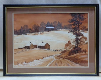 "1984 Robert Allen Matted 'Winter Farm"" Watercolor Painting w Black Vintage Frame"