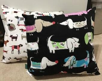 Black or White  Daschund Cushions